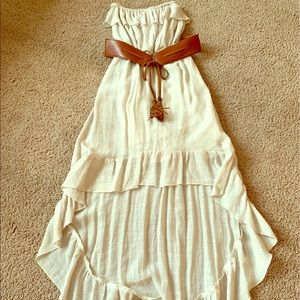 Tan Strapless Adam Levine High Low Dress